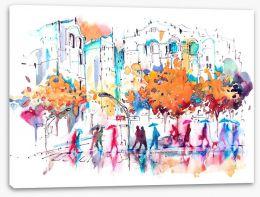 Autumn city rain Stretched Canvas 100144994