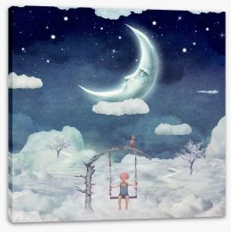 Hanging with the moon Stretched Canvas 101388759