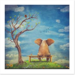 Elephant in the glade Art Print 102425490