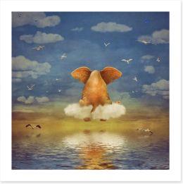 Elephant on the cloud Art Print 102521132