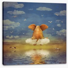 Elephant on the cloud Stretched Canvas 102521132