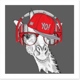DJ giraffe Art Print 103651366