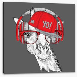 DJ giraffe Stretched Canvas 103651366