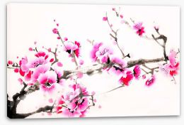 Pink blossom branch Stretched Canvas 109571201