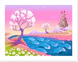 Spring dawn at the fairy castle Art Print 118044874