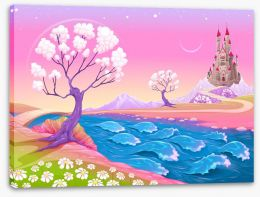 Spring dawn at the fairy castle Stretched Canvas 118044874