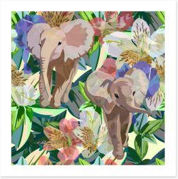 Rainforest elephants Art Print 119776530