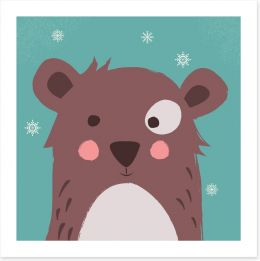 Brown bear with snowflakes