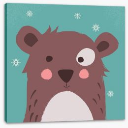 Brown bear with snowflakes Stretched Canvas 123122016