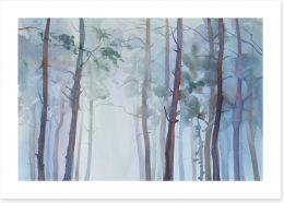 Foggy forest watercolour Art Print 125504264