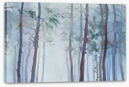 Foggy forest watercolour Stretched Canvas 125504264