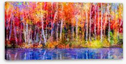 Aspen trees in fall Stretched Canvas 129052938