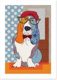 Patchwork basset Art Print 131702109