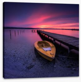 Sunset glow over the pier Stretched Canvas 133760017