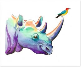 Rhino and bird Art Print 137887114