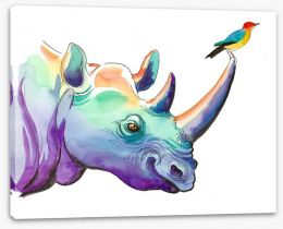 Rhino and bird Stretched Canvas 137887114