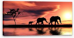 Elephant family silhouette Stretched Canvas 15223084