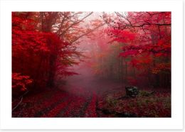 Red forest mist Art Print 178499149