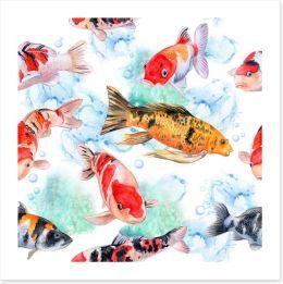 Swimming with the koi Art Print 179166395