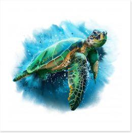 Sea turtle splash Art Print 182364926