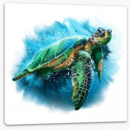 Sea turtle splash Stretched Canvas 182364926