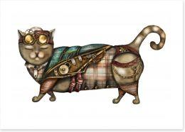 Steampunk kitty Art Print 186431549