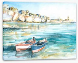 Boats in the bay Stretched Canvas 21582828
