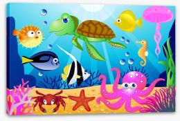 At the bottom of the sea Stretched Canvas 22428517