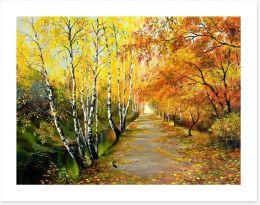 Autumn birch path