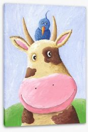 Blue bird and cow Stretched Canvas 24324115
