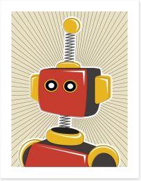 Retro robot in red Art Print 26284316