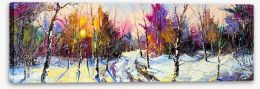 Sunset in Winter woods Stretched Canvas 26905857