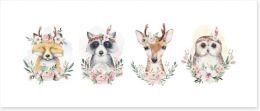 Flower forest friends Art Print 273612987