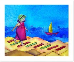 Girl on the beach Art Print 30995767