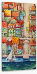 The seaside town Stretched Canvas 33989406