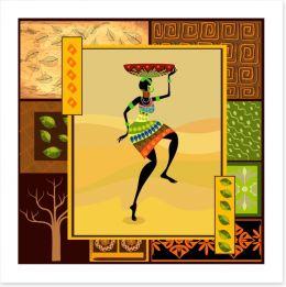 Dancing with the tribal basket Art Print 34844988