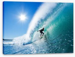 Surfer on blue ocean wave Stretched Canvas 37320867