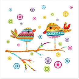 Chattering birds on a branch Art Print 39698840
