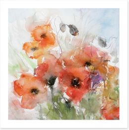 Watercolour poppies Art Print 39929125