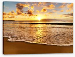 Golden beach sunset Stretched Canvas 40029593