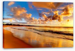 Golden beach sunset Stretched Canvas 40275471