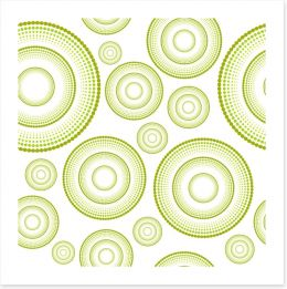 Green retro rings Art Print 40446648