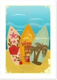 Retro Hawaiian surf Art Print 41072435