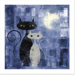 The moonlight cats Art Print 41519464