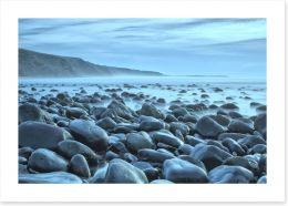 Rocky beach blues Art Print 43052204