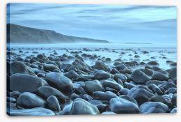 Rocky beach blues Stretched Canvas 43052204