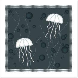 Jellyfish bubbles Art Print 44351406