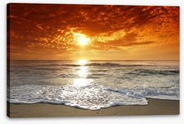 Fiery sunset over the sea Stretched Canvas 4465444