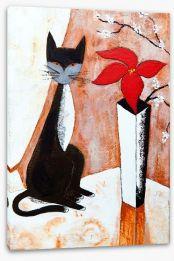 Chat noire avec un fleur Stretched Canvas 45634319