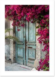 Old wooden door with bougainvillea Art Print 46023269
